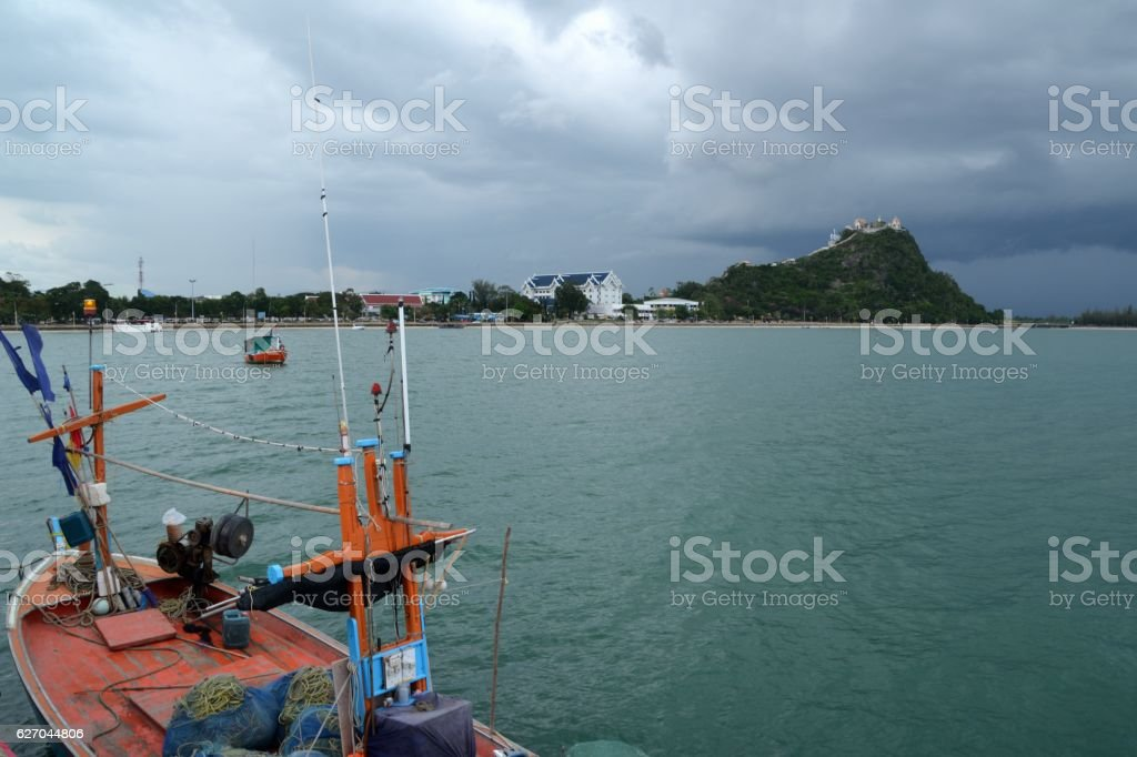 Fishing boat on Prachuap Khiri Khan bay, Thailand stock photo