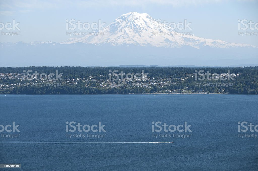 Fishing boat on Puget Sound with Mt Rainier in background royalty-free stock photo
