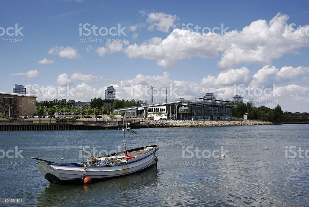 Fishing Boat On River stock photo