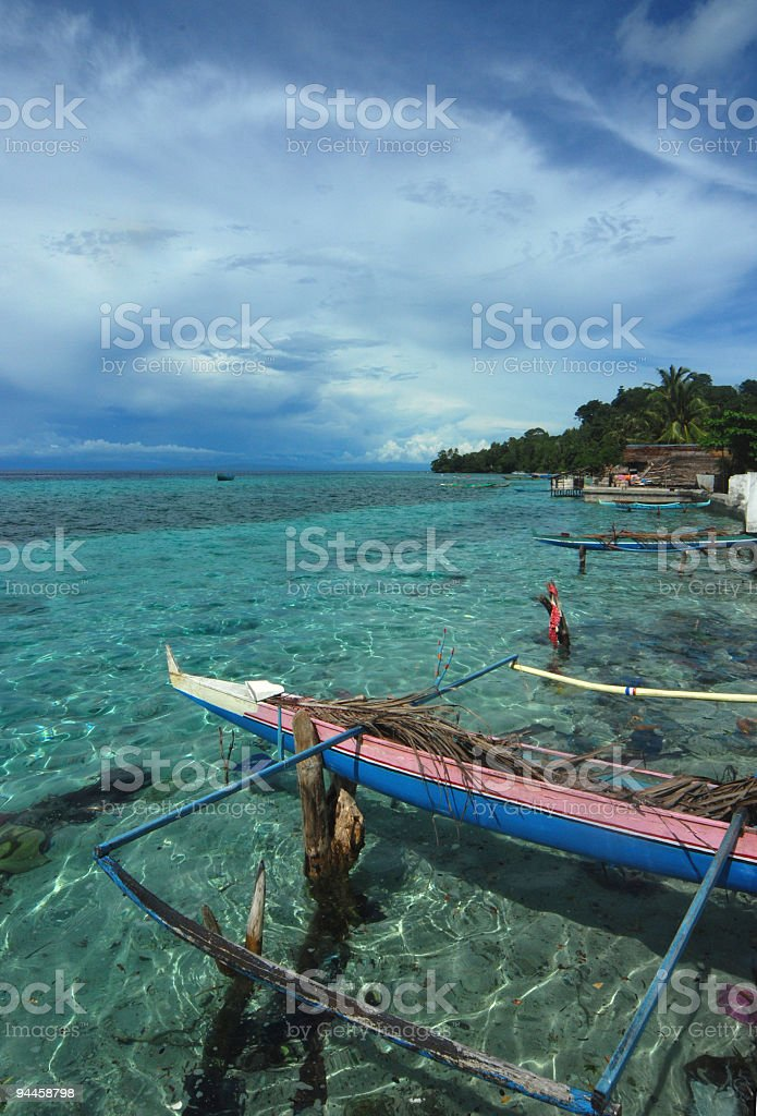 Fishing boat on stilts, Indonesia stock photo