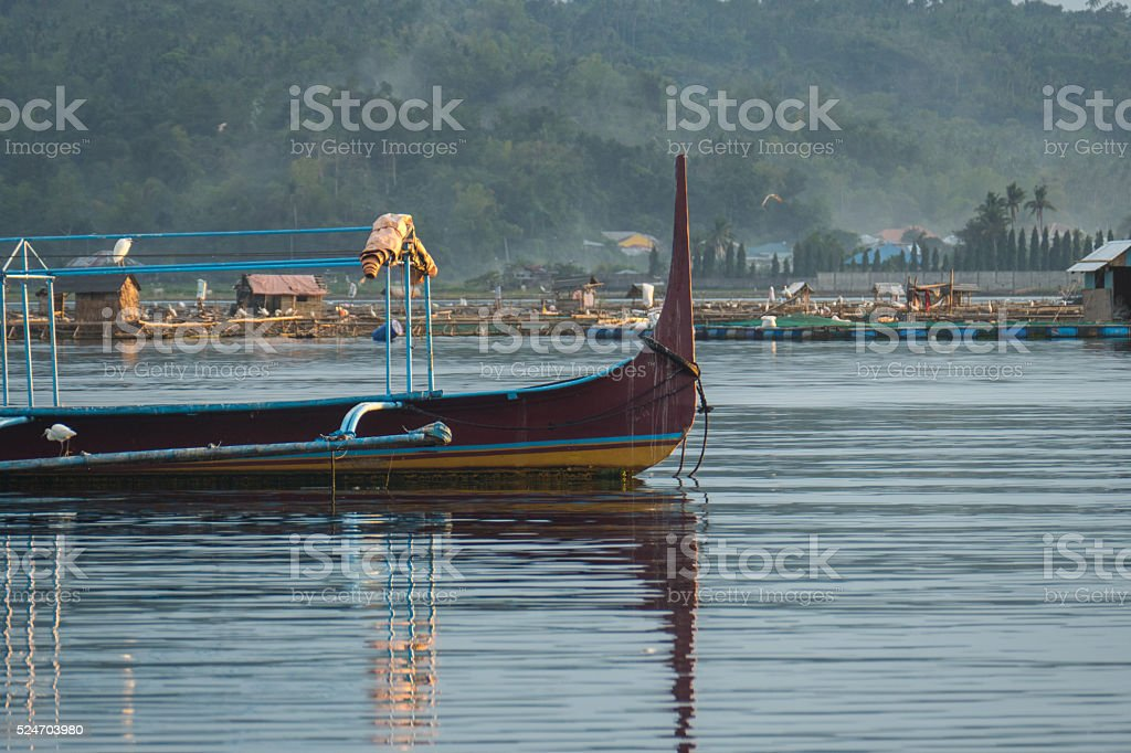 Fishing boat on Taal Lake stock photo