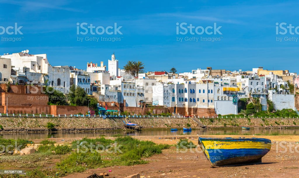 Fishing boat on the bank of a river in Azemmour, Morocco stock photo