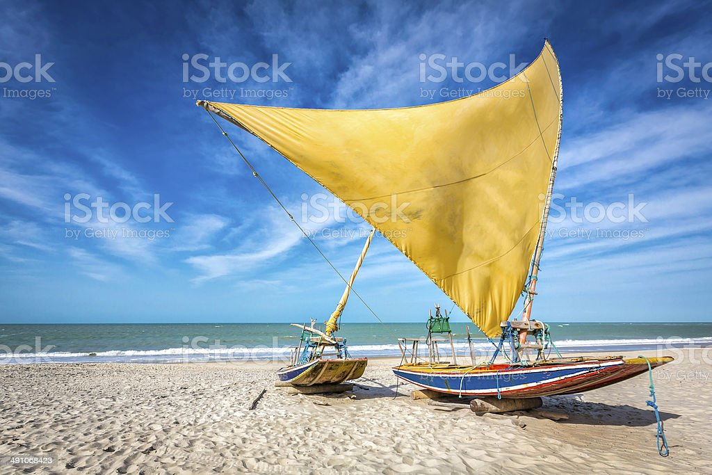 Fishing boat on the beach of Natal, Brazil stock photo