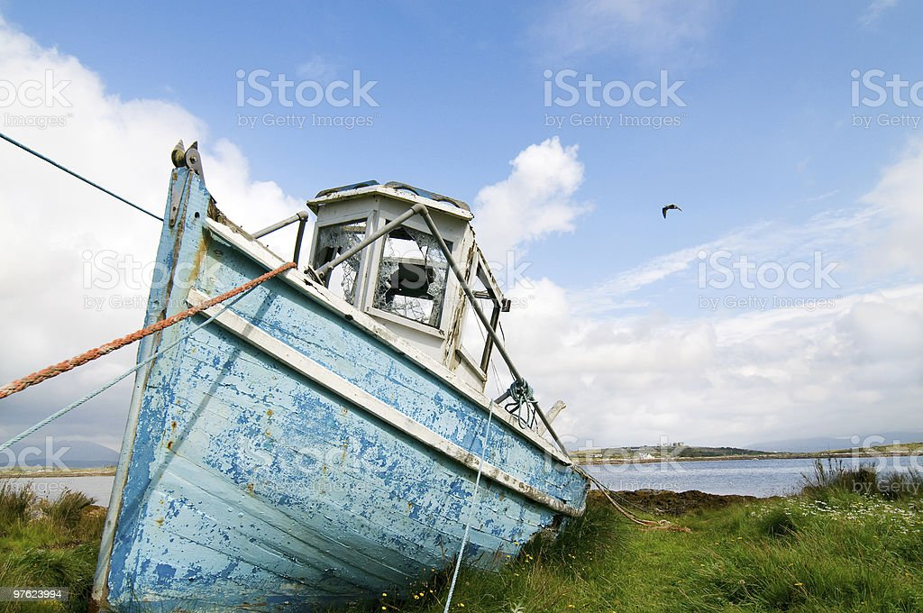 Fishing boat on the dry in Connemara stock photo