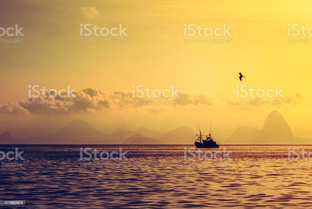Fishing Boat Pao de Açucar (Sugar Loaf) stock photo