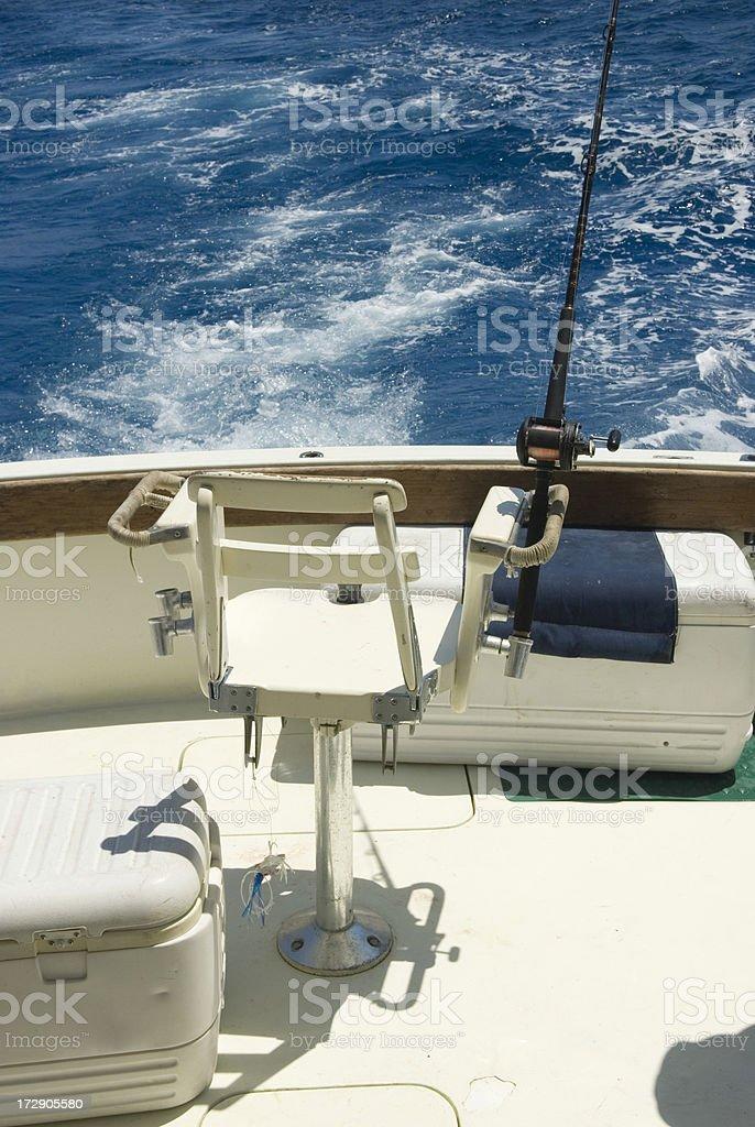 Fishing boat rear seat royalty-free stock photo