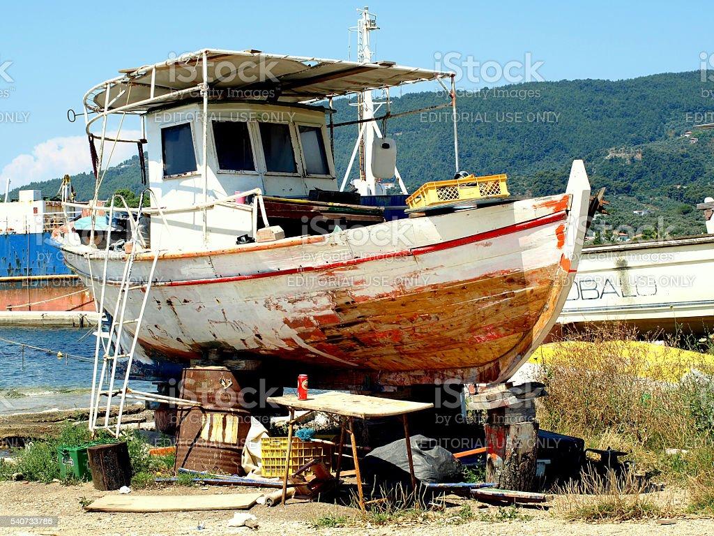 Fishing boat repairs. stock photo