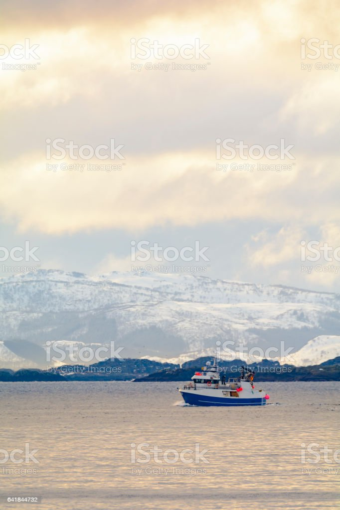 Fishing boat sailing in a snowy Lofoten winter landscape stock photo