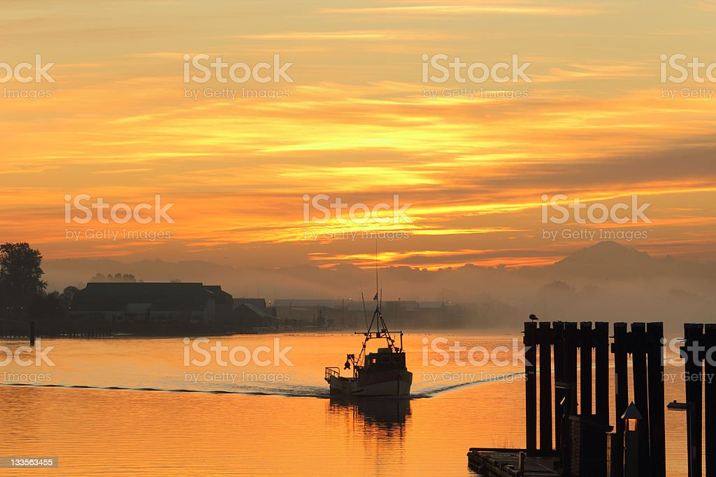 Fishing Boat Sunrise, Steveston stock photo
