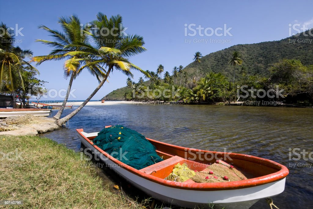 Fishing boat with palm trees royalty-free stock photo