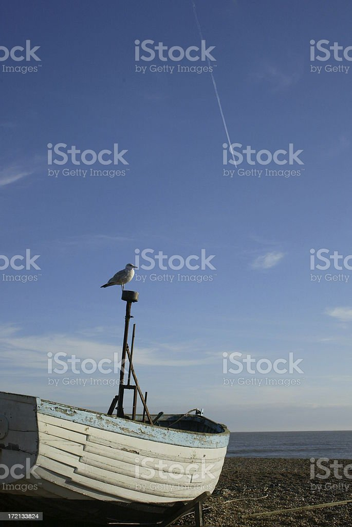 Fishing Boat with Seagull stock photo