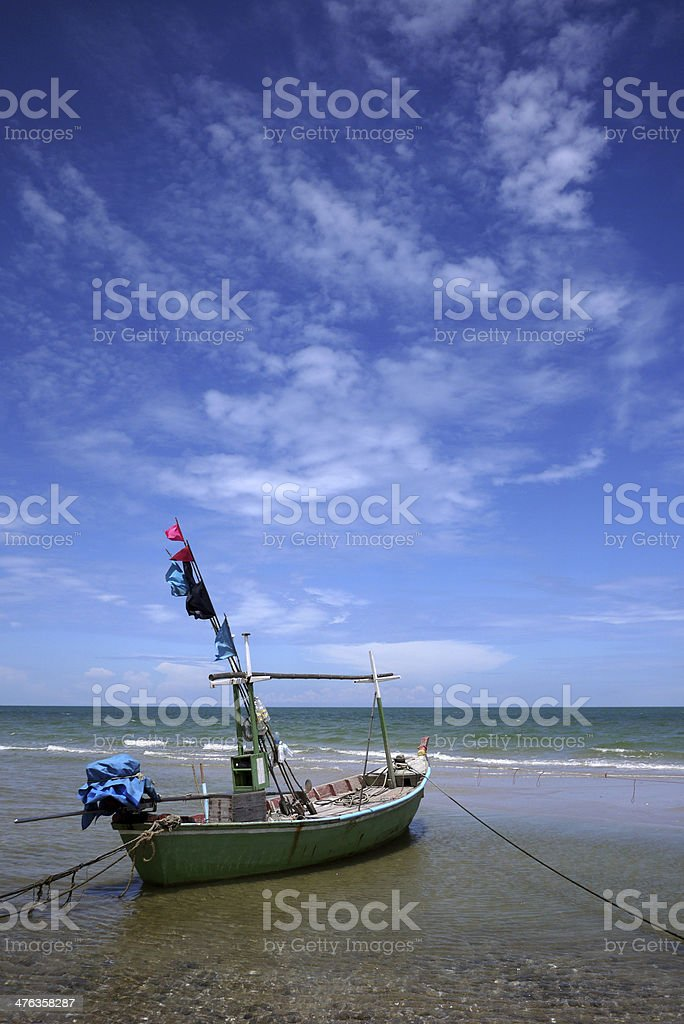 Fishing boat with sky background royalty-free stock photo