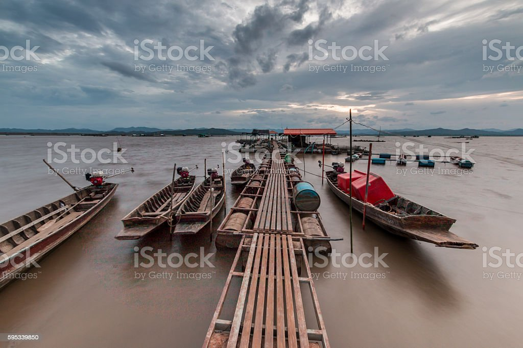 Fishing boat.Image is dark tone. stock photo