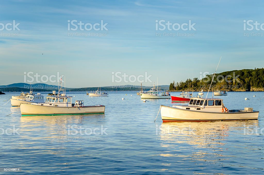 Fishing Boats Anchored in Calm Waters at Sunset stock photo