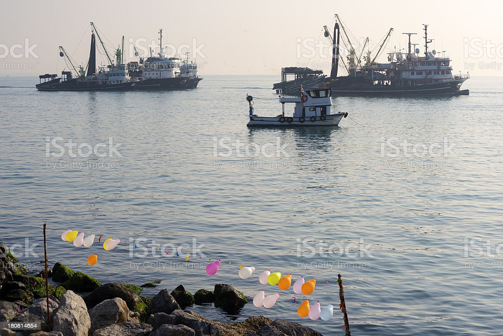 Fishing boats anchored in Istanbul royalty-free stock photo