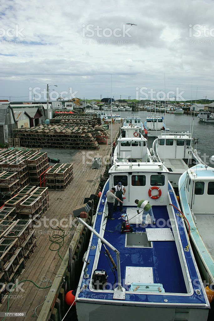 Fishing Boats Anchored in the  Harbor stock photo