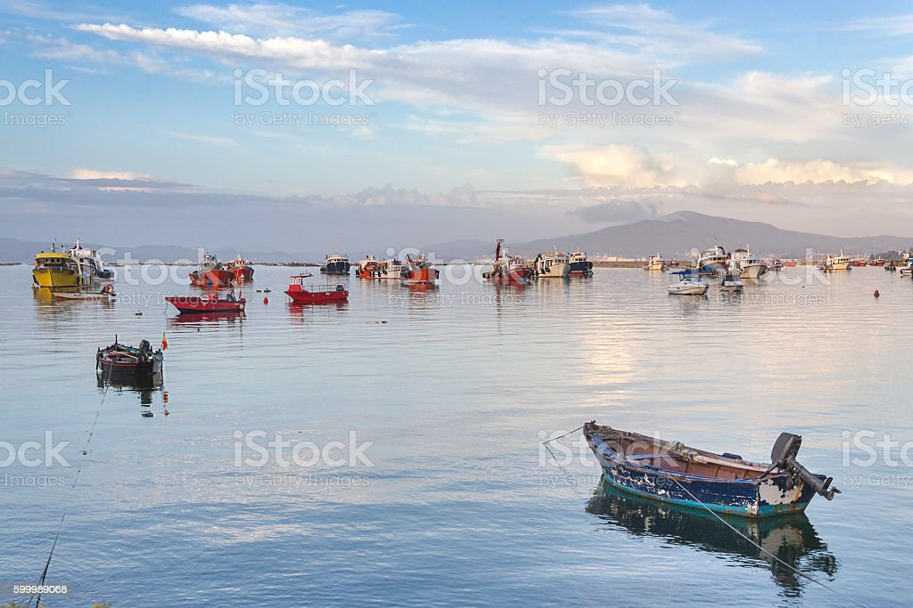 Fishing boats anchored stock photo
