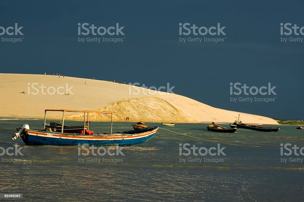Fishing Boats and Dune stock photo