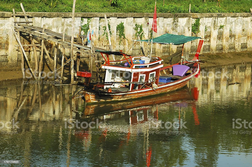 fishing boats and reflection water royalty-free stock photo