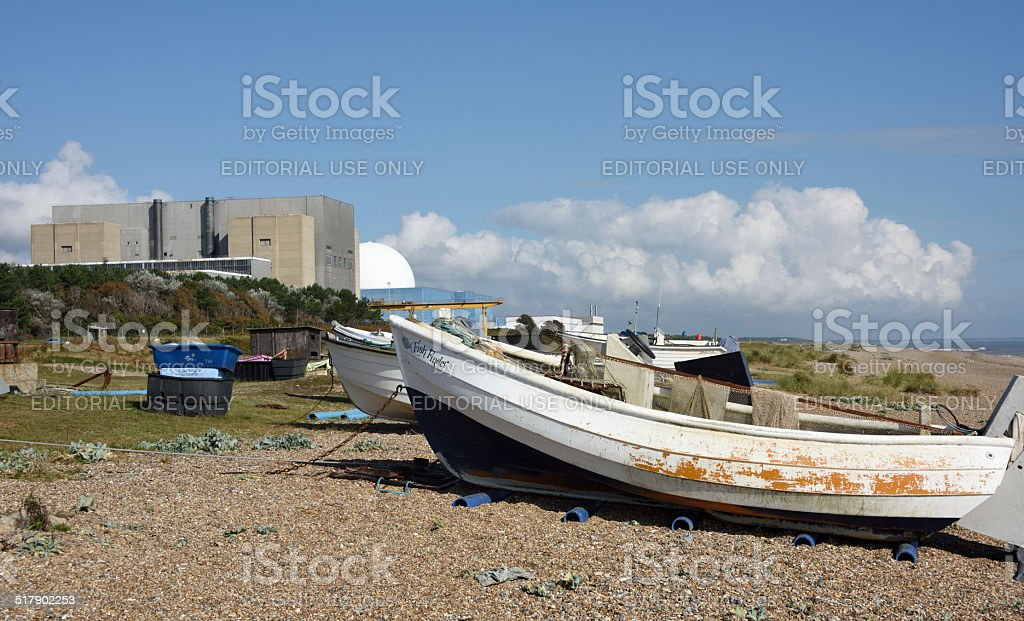 Fishing Boats and Sizewell Nuclear Power Station stock photo