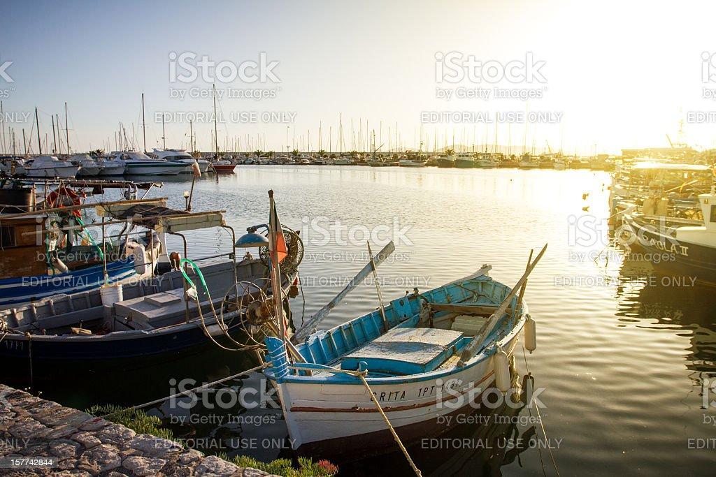 Fishing boats and yachts at the Harbor of Alghero, Sardinia stock photo