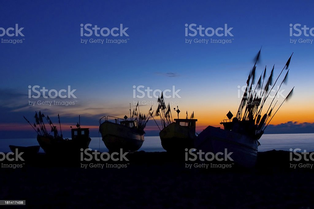 Fishing Boats at Baltic Sea Coast. stock photo
