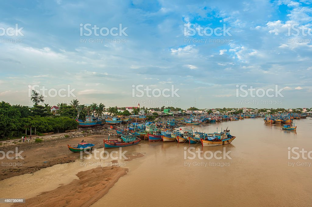 Fishing boats at Ham Tan fishing port stock photo