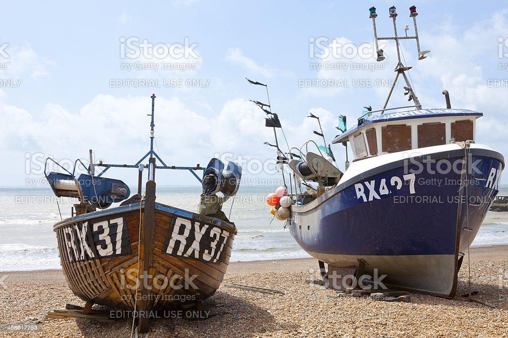 Fishing Boats at Hastings, UK royalty-free stock photo