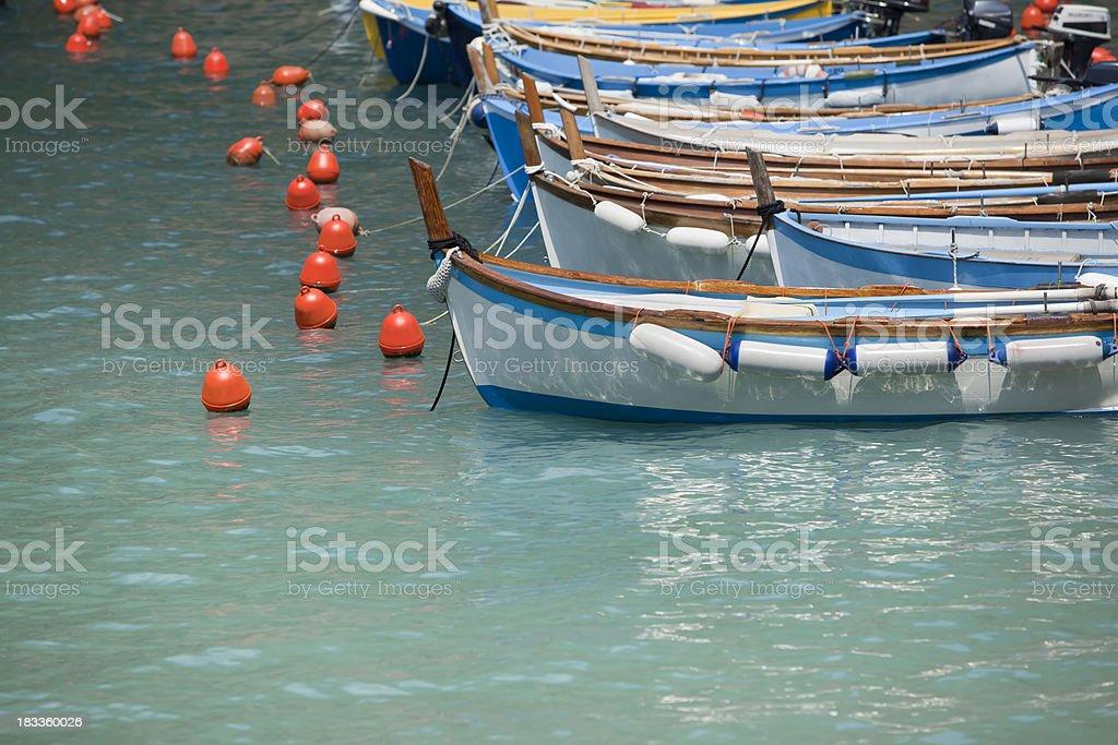 Fishing boats at italian harbor royalty-free stock photo