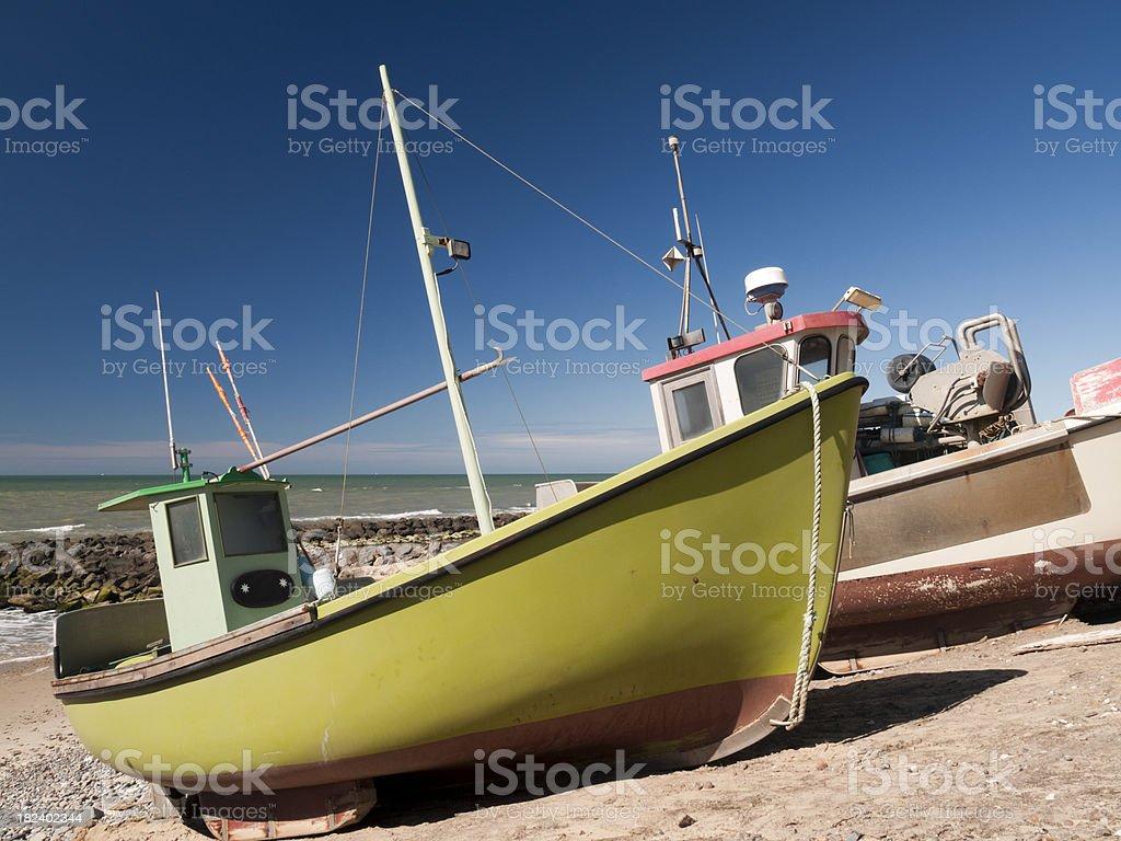 Fishing boats at Lønstrup beach stock photo