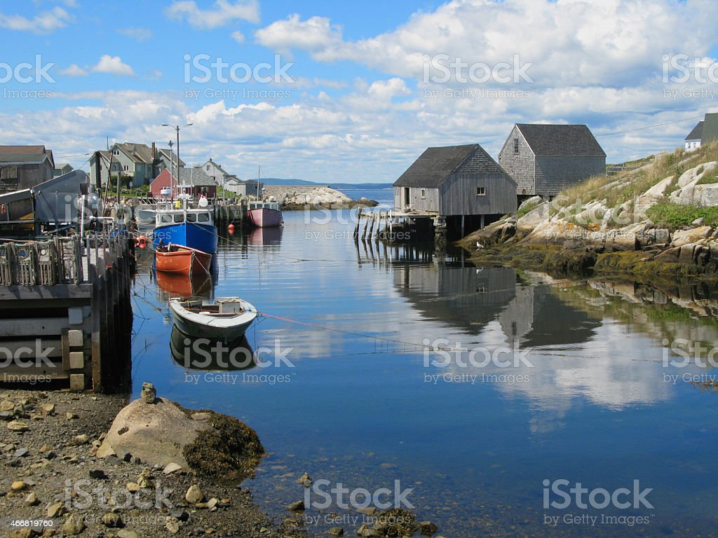 Fishing Boats  at Low tide in Peggy's Cove stock photo