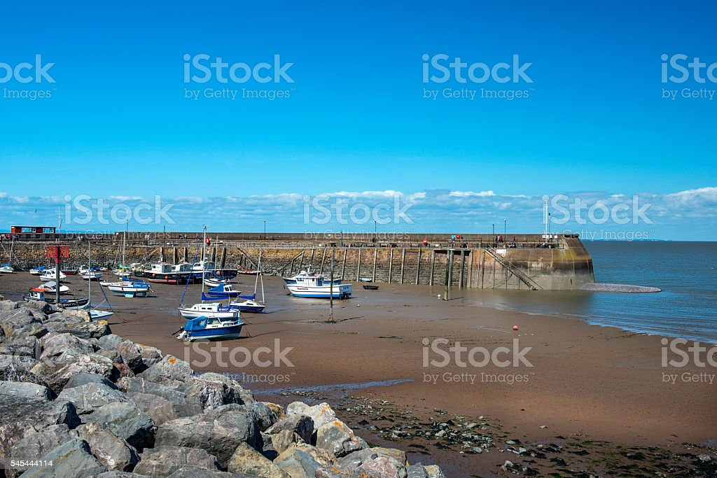 fishing boats at low tide, Penzance harbour, Cornwall, England stock photo