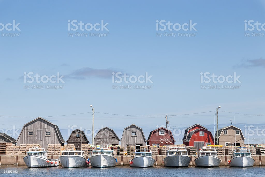 Fishing Boats at Malpeque Harbour stock photo