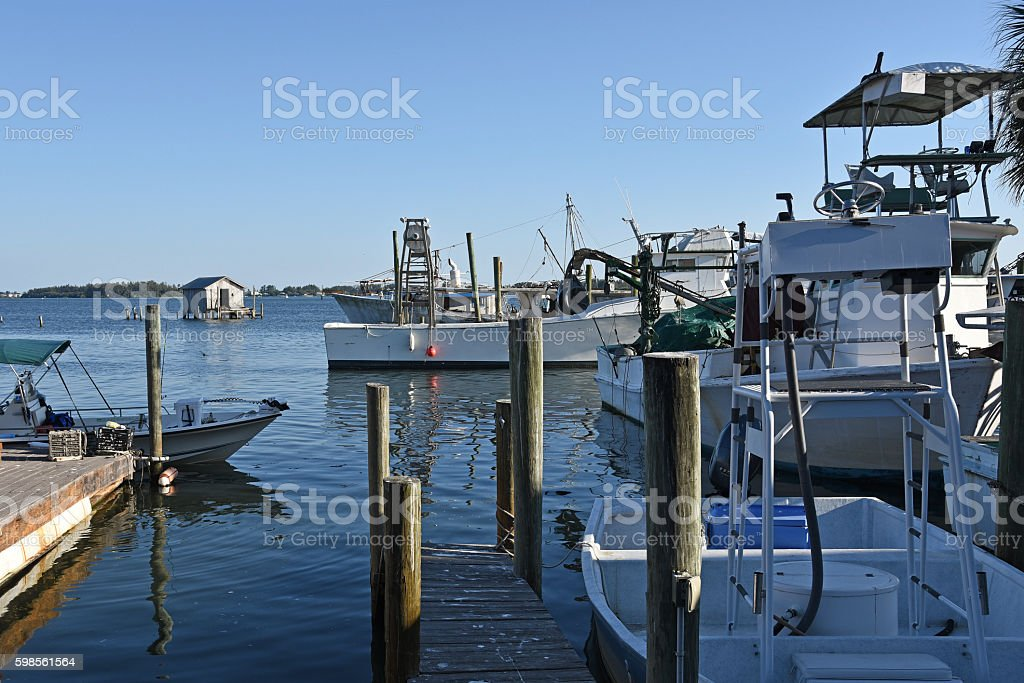 Fishing Boats at Marina stock photo