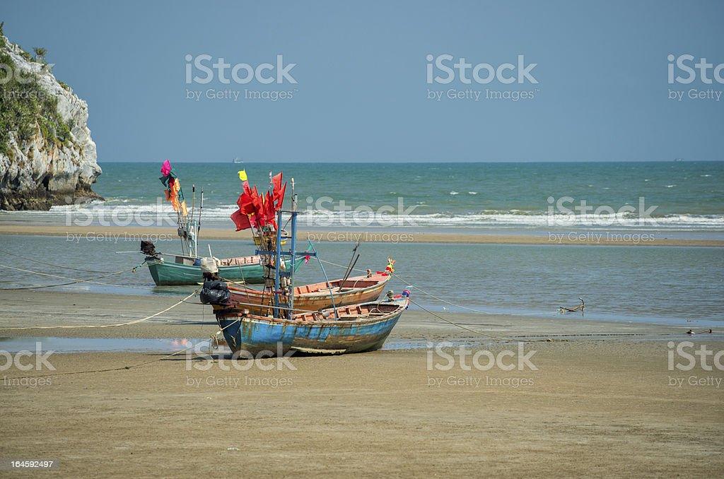 Fishing boats at Sam Roi Yot Beach, Thailand stock photo