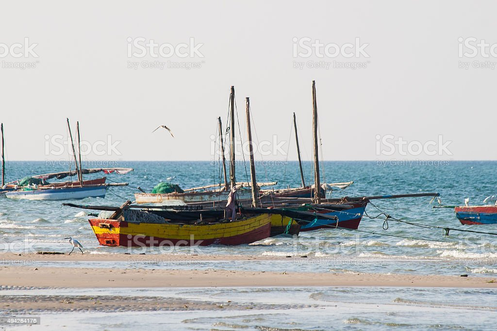 Fishing boats at the coast. stock photo