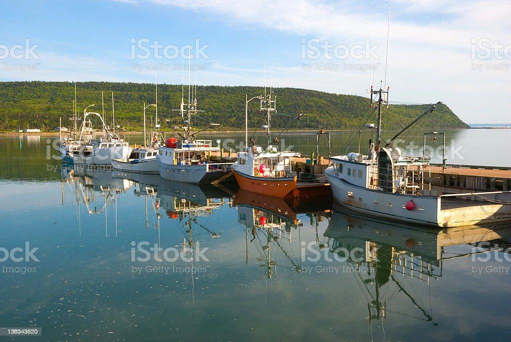Fishing Boats at the Dock in Advocate Harbor, Nova Scotia stock photo