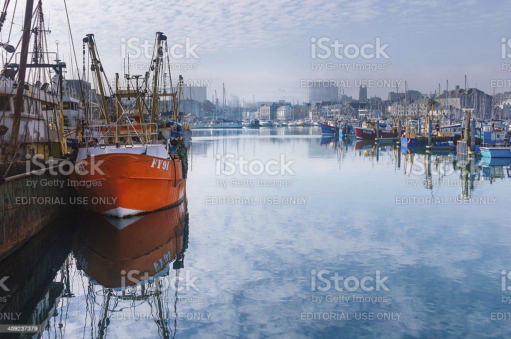 Fishing boats, Barbican Centre Marina, Plymouth, Devon, UK. stock photo