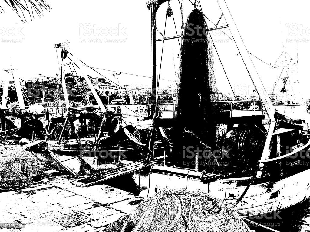 fishing boats cartoon style 2 stock photo