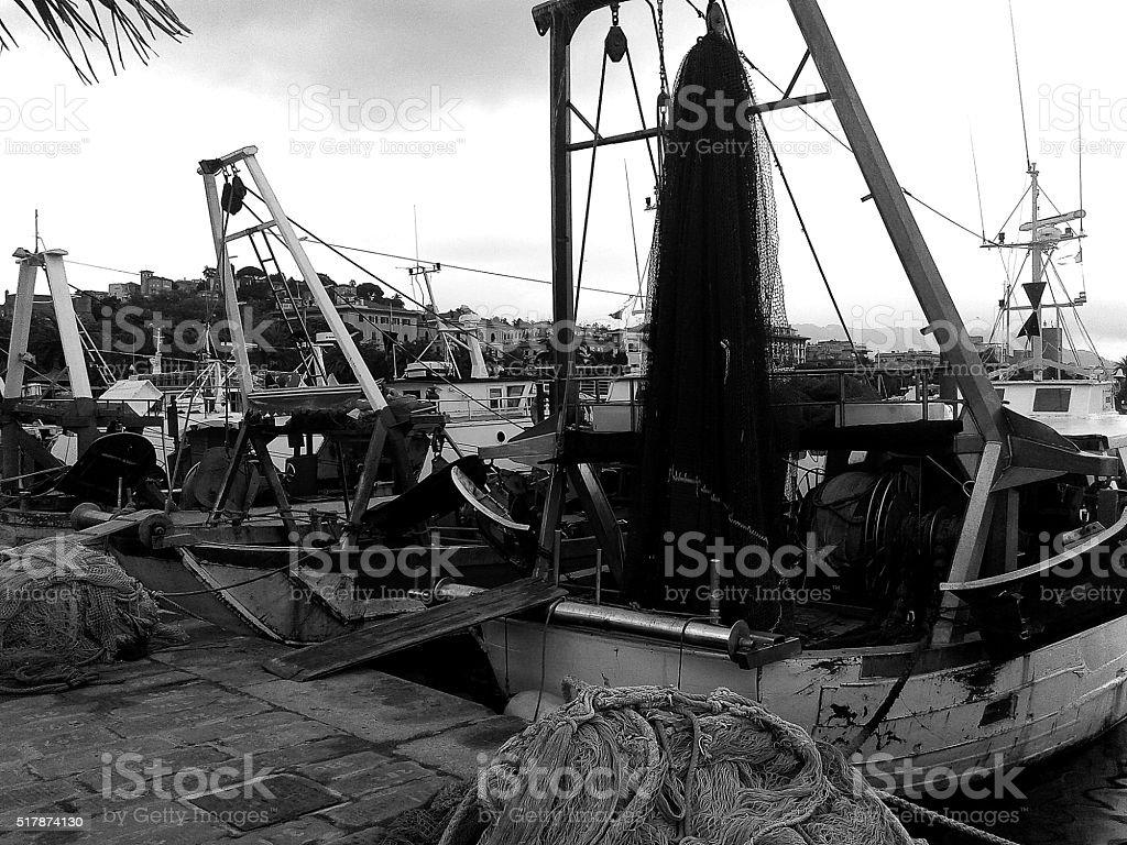 fishing boats dark stock photo