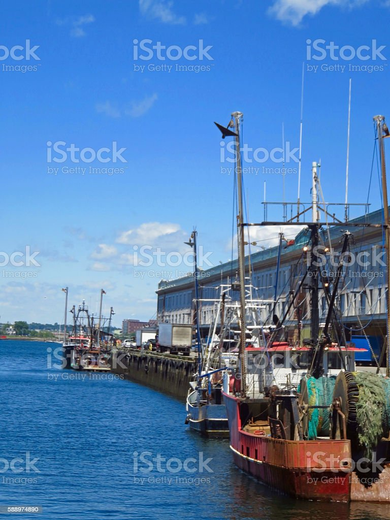 Fishing Boats Dockside stock photo