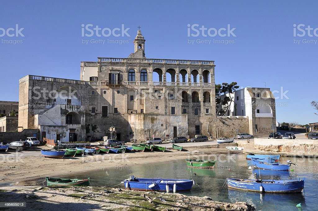 Fishing Boats in a Little port of Polignano a mare stock photo