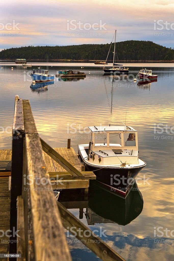 Fishing boats in a Maine harbor stock photo