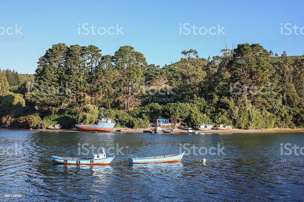 Fishing boats in Angelmo stock photo