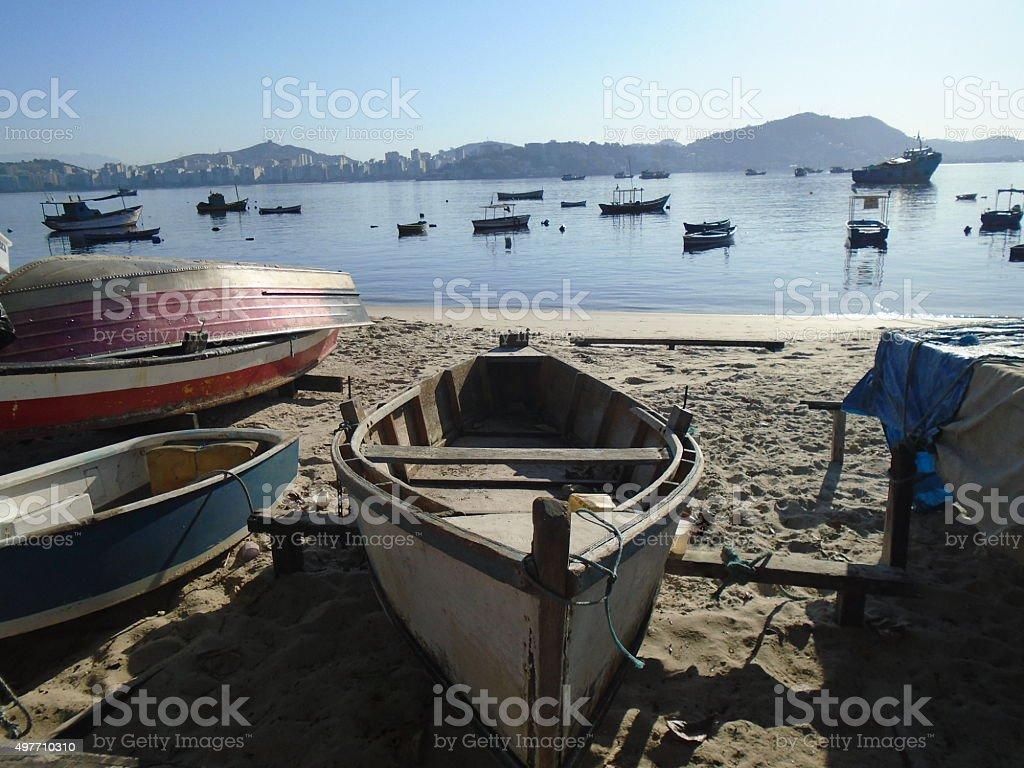 Fishing boats in Brazil stock photo