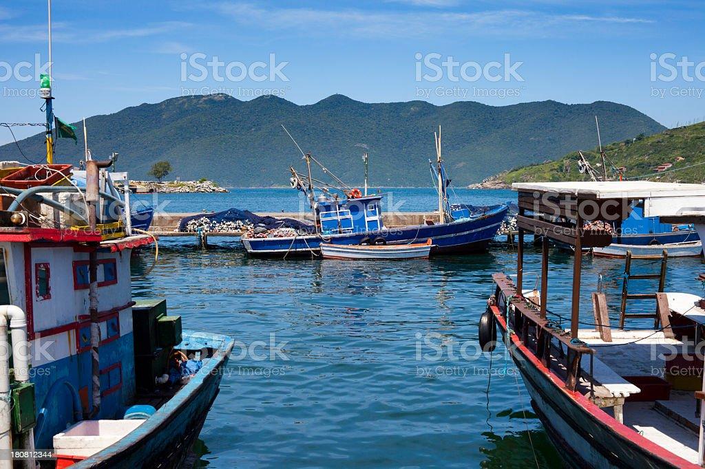 Fishing boats in Cabo Frio, Brazil stock photo