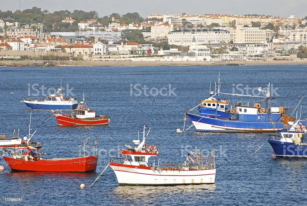 Fishing boats in Cascais Bay stock photo