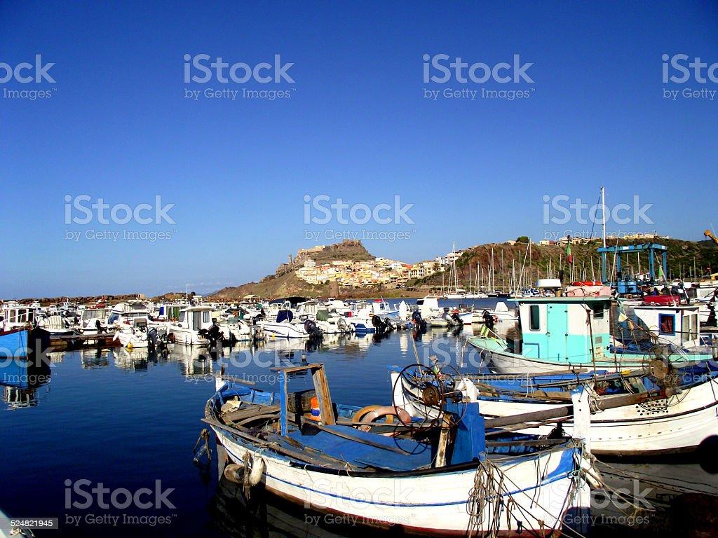 Fishing boats in Castelsardo, Sardinia stock photo