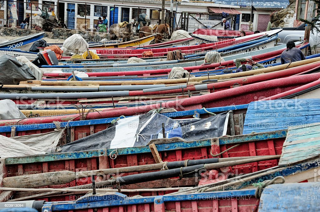Fishing boats in Concon stock photo