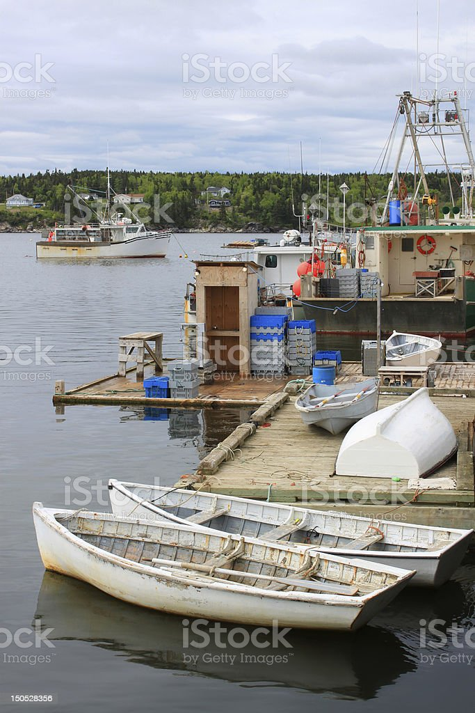 Fishing boats in Dipper Harbour, NB royalty-free stock photo